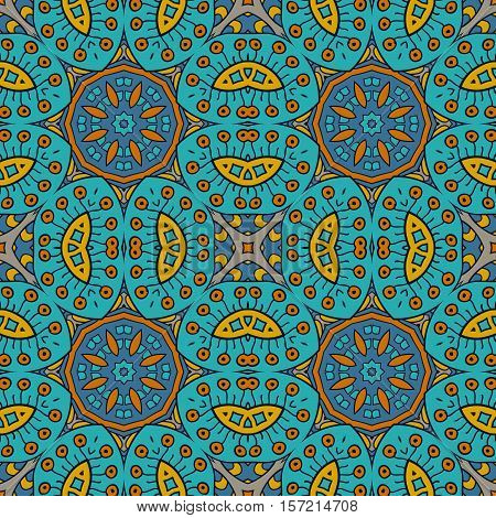 Seamless ornament. Colorful background. Ethnic motives. Zentagl. Mustard and blue tones