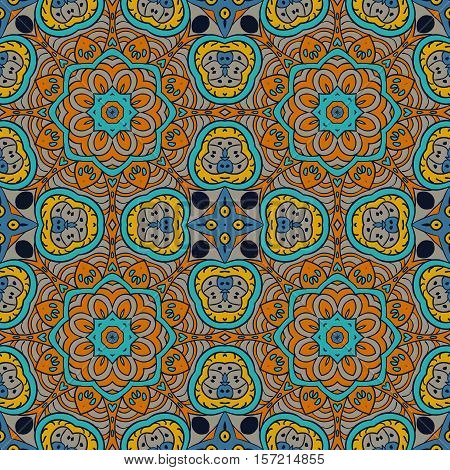 Doodle seamless colorful background. Ethnic motives. Zentagl. Mustard and Blue