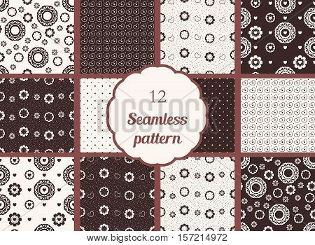 Flowers hearts circles. Set of seamless patterns in chocolate tones. The patterns for textiles scrapbooking and other creative