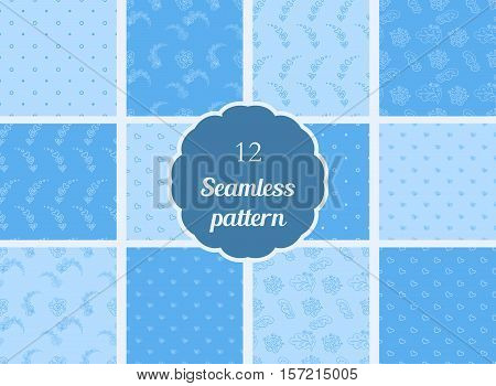 Abstract flowers hearts circles. Set of seamless patterns in soft blue and blue tones. The patterns for textiles scrapbooking and other creative