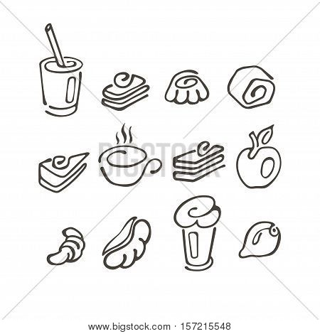 Set of simple linear symbol drawn by hand doodle breakfast coffee dessert tea