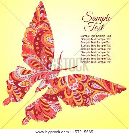 Doodle butterfly. Zentangl drawing. Holiday card. Tenderness of spring. Rosy and yellow colors