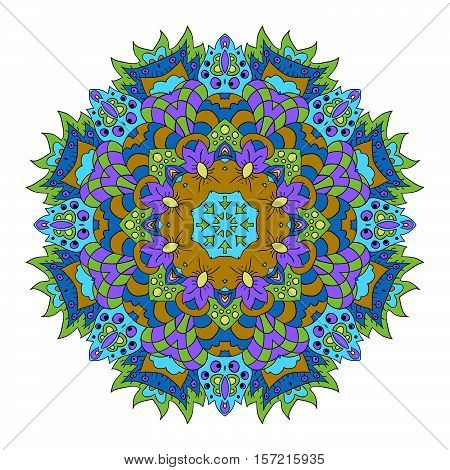 Mandala Eastern pattern. Zentangl round ornament. Blue mustard and green colors