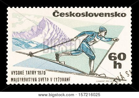 CZECHOSLOVAKIA - STAMP 1970 : Cancelled postage stamp printed by Czechoslovakia, that shows Long distance skier.