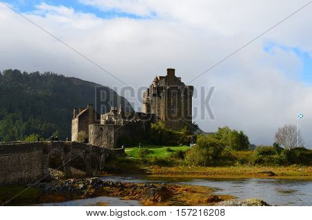 A very scenic view of Eilean Donan Castle in Scotland.