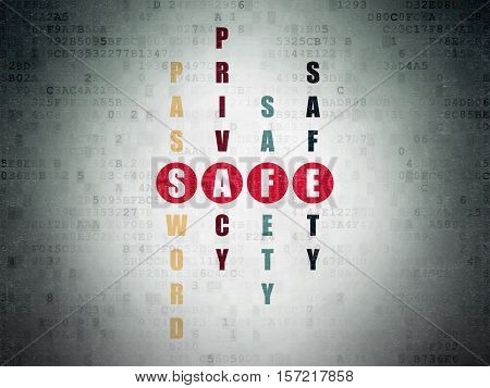 Safety concept: Painted red word Safe in solving Crossword Puzzle on Digital Data Paper background