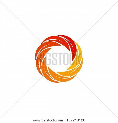 Isolated abstract red, orange, yellow circular sun logo. Round shape logotype. Swirl, tornado and hurricane icon. Spining hypnotic spiral sign. Photo lens symbol. Vector wheel illustration