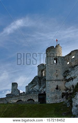 fort history medieval ruined wall tower landscape middle ages castle hill stronghold stone rock sky cloud brick Ogrodzieniec Poland Europe
