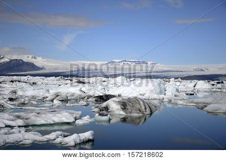 Iceland glacier lake Jokulsarlon glacial lagoon nature with snow landscape Vatnajokull 3