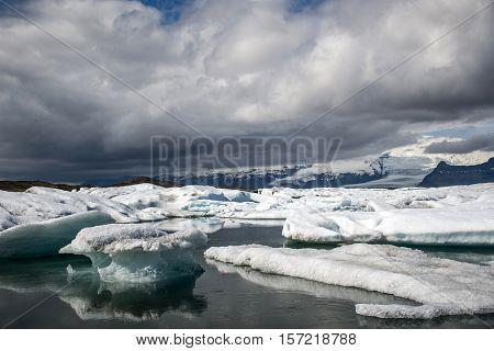 Iceland glacier lake Jokulsarlon glacial lagoon nature with snow landscape Vatnajokull 5