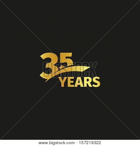 Isolated abstract golden 35th anniversary logo on black background. 35 number logotype. Thirty-five years jubilee celebration icon. Thirty-fifth birthday emblem. Vector illustration poster