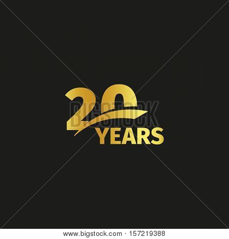 Isolated abstract golden 20th anniversary logo on black background. 20 number logotype. Twenty years jubilee celebration icon. Twentieth birthday emblem. Vector illustration