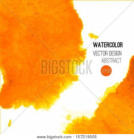 Abstract watercolor background. Orange Hand drawn watercolor backdrop texture stain watercolors on wet paper. Vector illustration