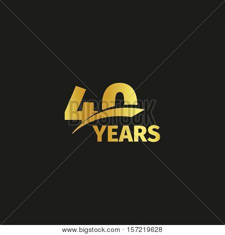Isolated abstract golden 40th anniversary logo on black background. 40 number logotype. Forty years jubilee celebration icon. Fortieth birthday emblem. Vector illustration
