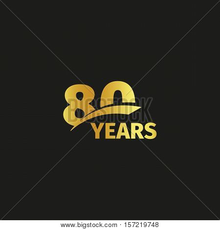 Isolated abstract golden 80th anniversary logo on black background. 80 number logotype. Eighty years jubilee celebration icon. Eightieth birthday emblem. Vector illustration