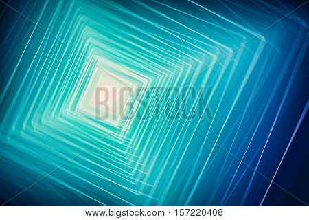 illustration of abstract blue background with light converging diamonds rhombus
