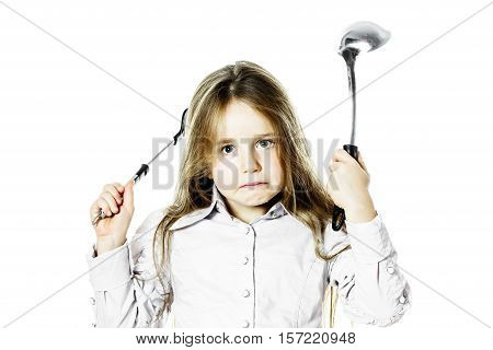 Angry Little Girl With Soup Ladle