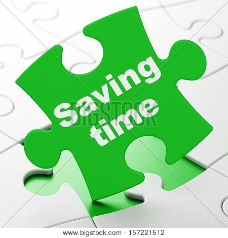 Timeline concept: Saving Time on Green puzzle pieces background, 3D rendering