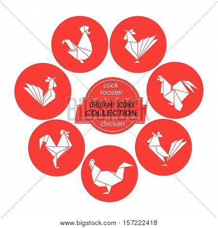 Cartoon cock icon set. Abstract white rooster sign silhouette in red circle. Freehand drawn stylized origami chicken emblem. Template geometric logo design. Design vector element hen symbol