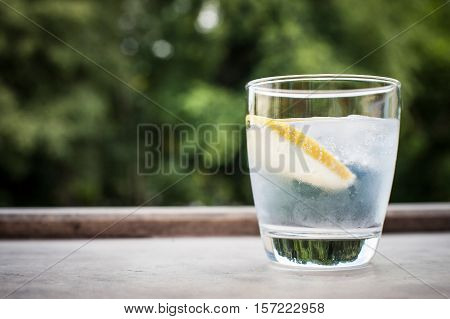 Gin and tonic cocktail with lemon on the terrace