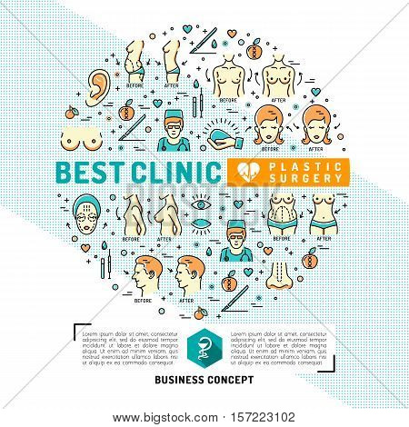 Medical Card, flyer for plastic surgery clinics. Infographics medical flat symbols, Medicine graphic design, Vector circle colorful template. Business concept Health and Beauty, Vector illustration
