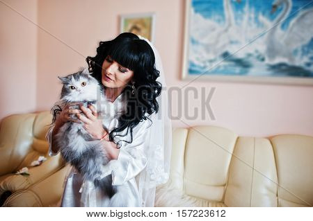 Young Pretty Brunette Bride Dressing Silk Gown And Hold Big Gray Cat On Hands