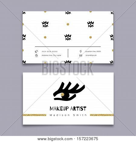 Makeup artist business card, Modern hipster minimal design. Vector graphics marker hand drawn, Gold and black elements on a white background, Eye doodles seamless pattern