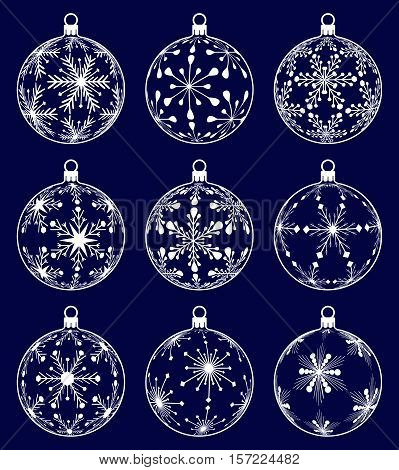 set of nine christmas ball silhouettes with snowflake texture on dark blue background isolated holiday illustration