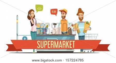 Customers with brown paper grocery bags and cashier at supermarket checkout counter cash register cartoon poster vector illustration