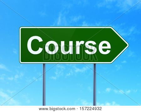 Studying concept: Course on green road highway sign, clear blue sky background, 3D rendering