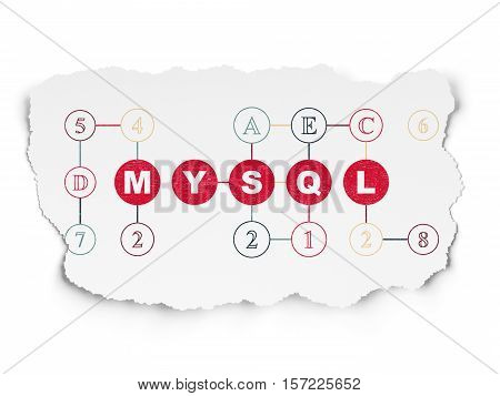Programming concept: Painted red text MySQL on Torn Paper background with Scheme Of Hexadecimal Code
