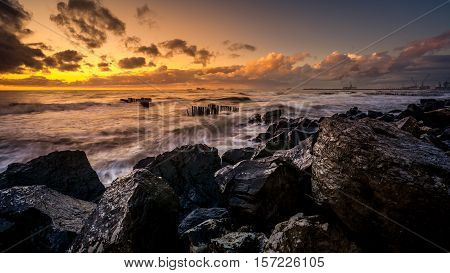 Sunset. Beautiful Sunset Black Sea. Gold Sea Sunset. Picture Sea Sunset. Sea Sunset Background. Amaz