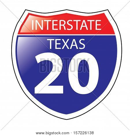 Layered artwork of Texas I-20 Interstate Sign