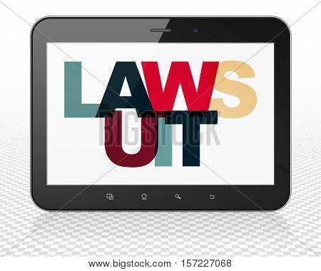 Law concept: Tablet Pc Computer with Painted multicolor text Lawsuit on display, 3D rendering