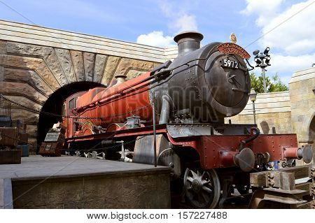 Universal Studios Resort Orlando Florida USA - October 24 2016: The Wizarding World of Harry Potter Hogwarts Express