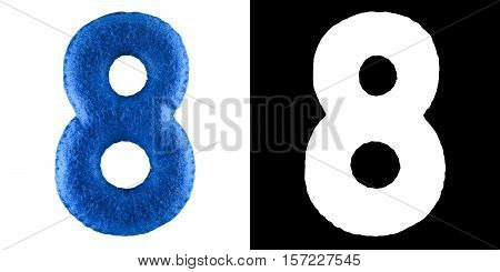 Number 8. Hand Made Toy From Blue Felt. Symbol Eight