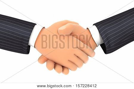 3d close up of business handshake illustration with isolated white background