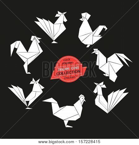 Cartoon cock icon set. Abstract rooster sign black white silhouette. Freehand drawn origami chicken emblem. Template geometric rectangular logo. Design element hen symbol. Vector cockeler illustration