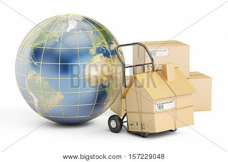 International household moving services concept. 3D rendering