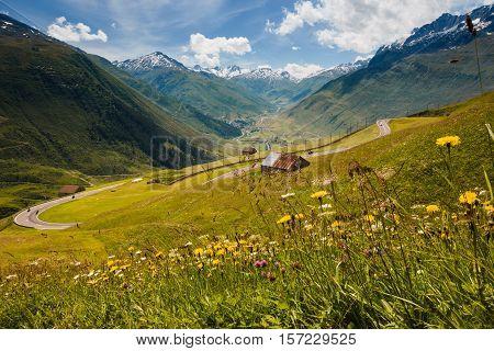 Swiss Alps View From Oberalppass, Flowers, Barn
