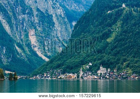 Hallstatt city near the Hallstatter see under high Alps mountains