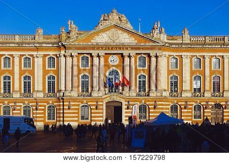 Toulouse, France, October 27, 2016: The town hall at Toulouse in France.