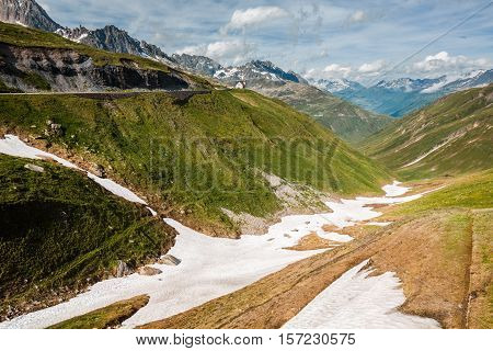 Valley Near Top Of Furka Pass, Road On The Left