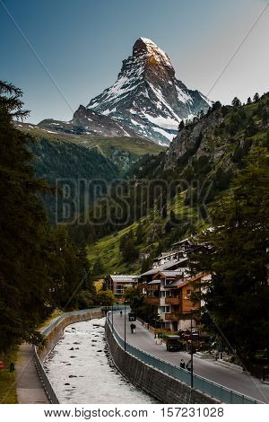 Sunset Photo Of Zermatt City And Matterhorn
