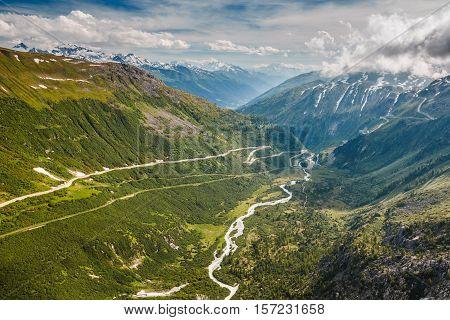 Beginning Of Rhone River Viewed From Furka Pass