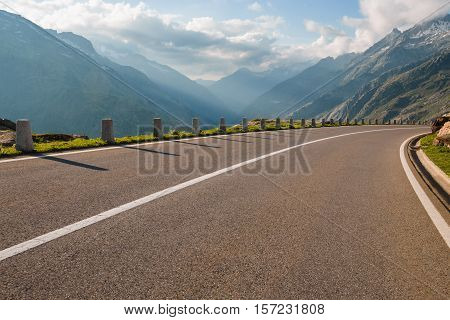 Two Lanes Of Road, Grimsel Pass, Alps, Switzerland