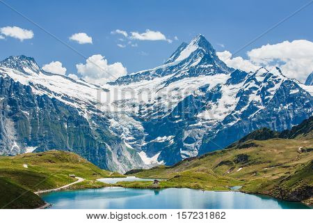 Schreckhorn Over Bachsee, Alps, Switzerland