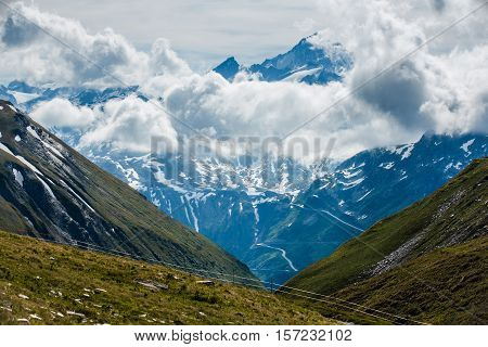 Finsteraarhorn Peak With Clouds From Furka Pass
