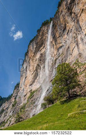Staubbach Falls Near Lauterbrunnen, Switzerland