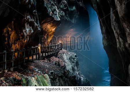 Passage With Mist Coming From Tamina Spring